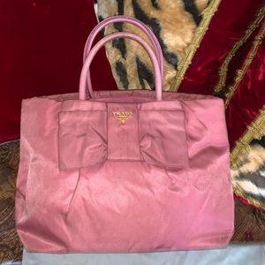 Authentic Prada bow pink nylon hand bag